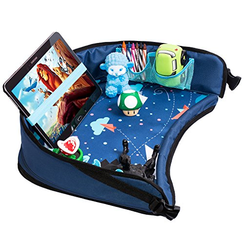 Toddler Car Seat Travel Tray by DMoose (16-Inch-by-13-Inch) – Reinforced Solid Surface, Sturdy Side Walls, Strong Buckles, Mesh Pockets – Waterproof Snack, Play & Learn Tray (Blue II)