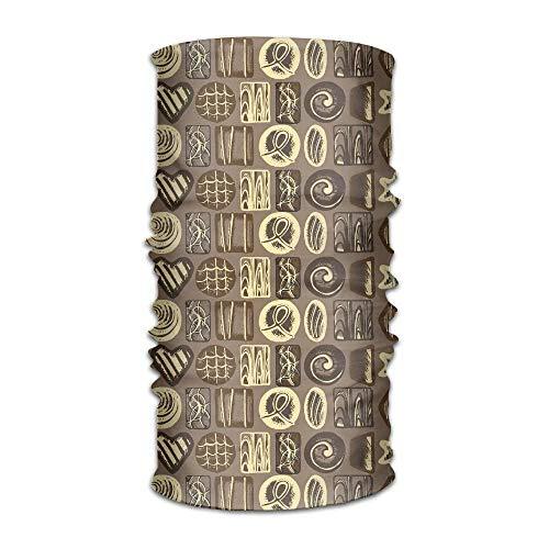 CHUANGFU Chocolate Funny Headwear Headscarf Magic Headwear Helmet Liner Head Wrap Scarf -
