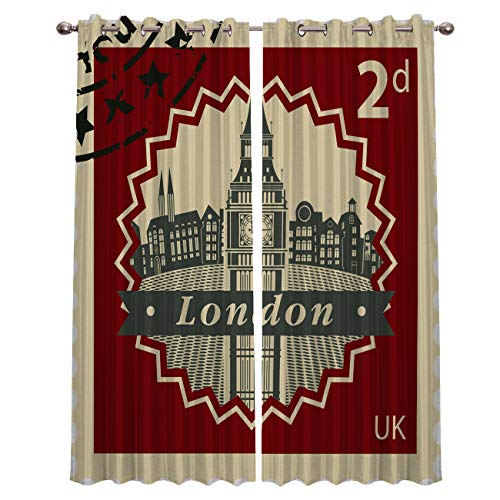 Prime Leader Curtains for Living Room- Vintage UK Stamp Collection Darkening Thermal Insulated Window Treatment Curtains, with Grommet Home Decor (2 Panels, 40 x 84 Inch Each Panel) (Patio Ideas Uk Surface)