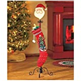 Santa Claus Christmas Free Standing Holiday Stocking Metal Stand Scrolled Base Hanger