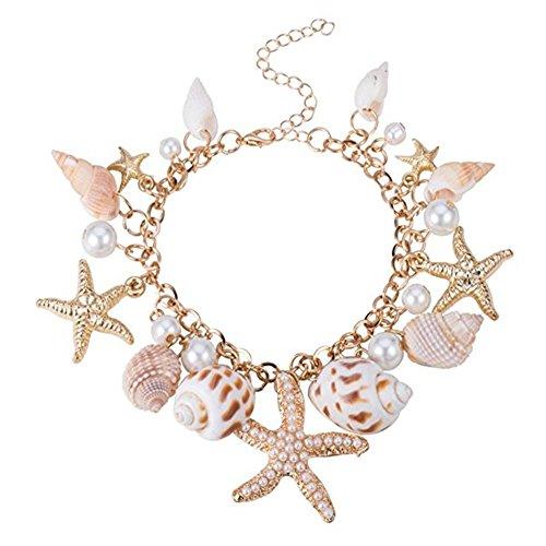 (FASHEWELRY Trendy Alloy Rhinestone Starfish Glass Pearl Pendant Ocean Sea Shell Charm Bracelet, 230mm)