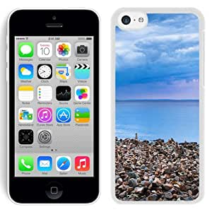 New Beautiful Custom Designed Cover Case For iPhone 5C With Seaside Pebble Piles (2) Phone Case