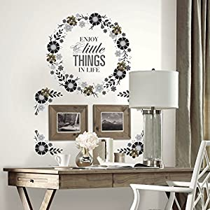 RoomMates Floral Wreath Quote Peel And Stick Giant Wall Decals with Metal Flower Embellishments 88