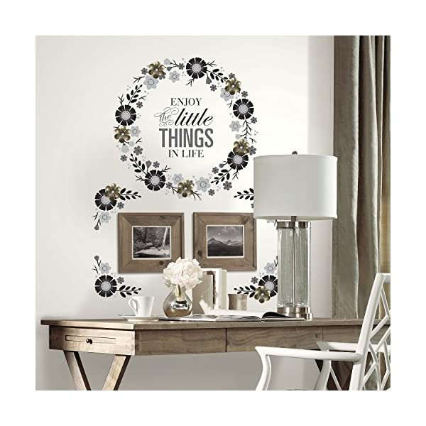 RoomMates Floral Wreath Quote Peel And Stick Giant Wall Decals with Metal Flower Embellishments
