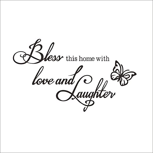 BLESS THIS HOME WITH LOVE /& LAUGHTER HOME WALL QUOTE DECAL VINYL WORDS