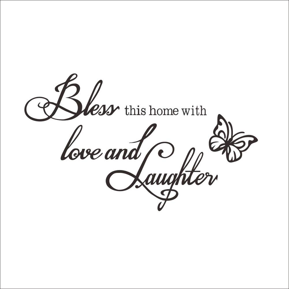 "Bless This Home Love Laughter Decal Wall, Sayings Wall Sticker Wall Art Decor Home Blessing, Removable Home Window Vinyl Art Decal (12"" H x 20.4"" L)"