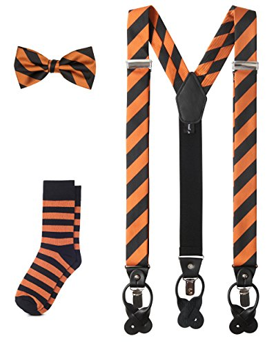 Jacob Alexander Matching College Stripe Suspenders Dress Socks and Bow Tie - Orange Black (Bow Socks Orange)