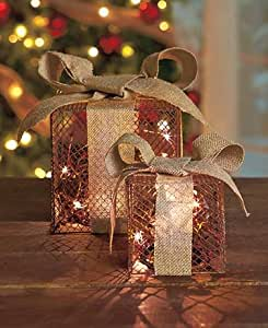 Country Christmas Decor (Set of 2 Lighted Gift Boxes)