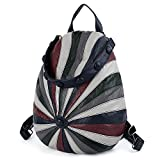 UTO Fashion Backpack Anti-Theft PU Washed Leather Ladies Rucksack Multicolor Hat Shape Shoulder Bag Blue Multicolor