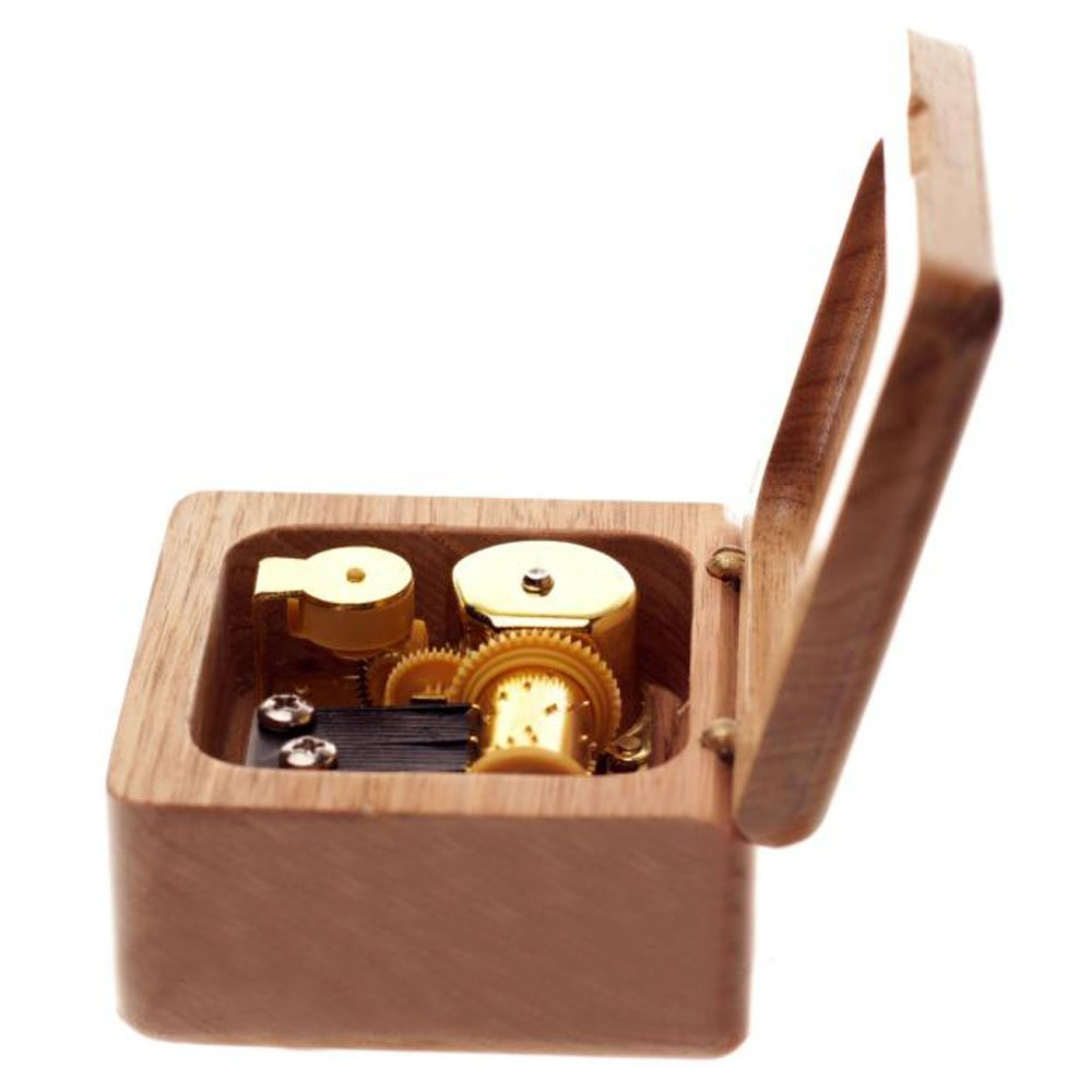 Wind-Up Wooden Music Box with Gold-plating Movement in,Love Story,Wood