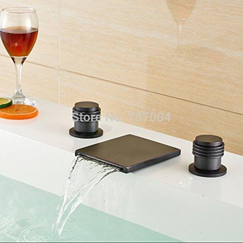 U-Enjoy Rieb Öl Bronze Top-Qualität Badezimmer-Wasserfall-Wannen-Mischer-Hahn-Deck Montiert Verbreitet Badewanne Wasserhahn [Kostenloser Versand]