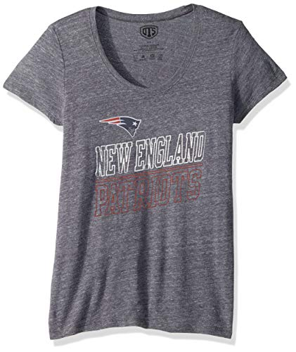 NFL New England Patriots Women's Ots Triblend Scoop Tee, Small, Light Navy