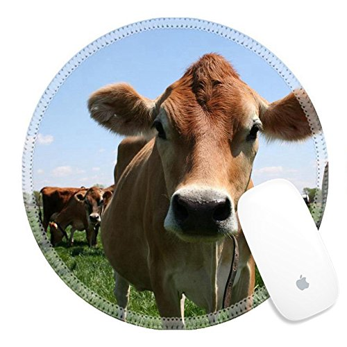 Luxlady Round Gaming Mousepad 449914 A beautiful female Jersey cow in pasture