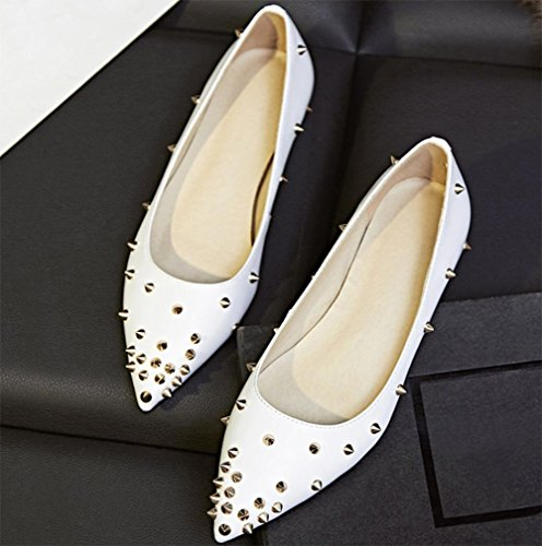 shoes shoes shoes White autumn ladies Spring rivets shoes and pointed flat tAwqAvXzn