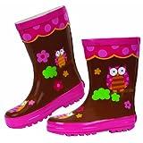 Stephen Joseph Rain Boot, Owl, 9, Brown, 1-Pack