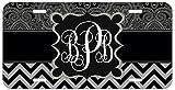 Personalized Monogrammed Chevron Black Grey Ornamental License Plate Auto Tag