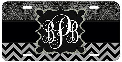 personalized-monogrammed-chevron-black-grey-ornamental-license-plate-auto-tag