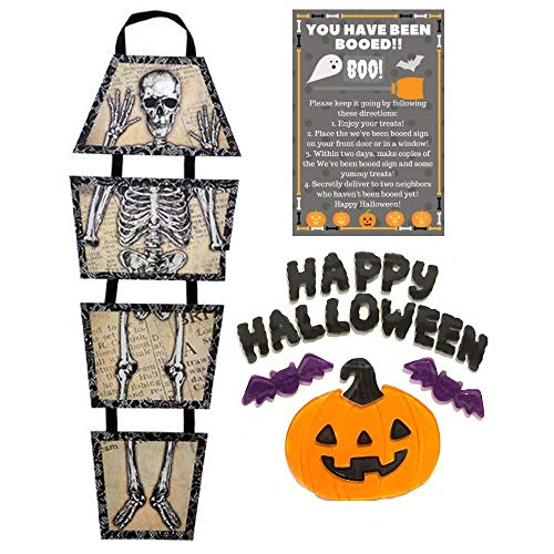 Multiple Halloween Decorations 4 Piece Bundle Skeleton Block Signs, 29 in, Happy Halloween w/Happy Pumpkin Face Window Gels & You've Been Boo'd Card w/Bag Kit Great for Home, Office, or School