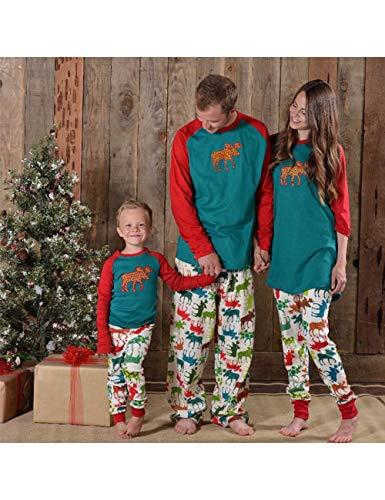 Casa per Padre Vestiti Lunga Natalizio Tops figlio Stampato Maglietta Animale Sleepwear Pantaloni BESBOMIG Mom la Famiglia Pigiama Set wCqUYU