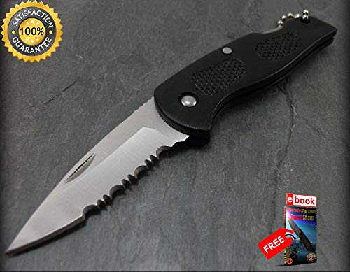 KNIFE Mini Black Silver Serrated Blade Keychain Key Ring EDC 4 Combat Tactical Knife + eBOOK by Moon Knives ()