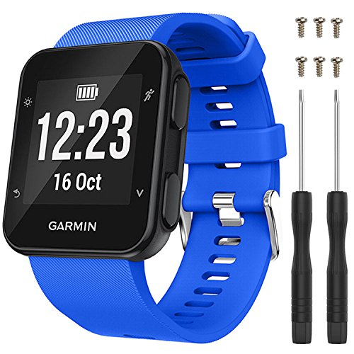 QGHXO Band for Garmin Forerunner 35, Soft Silicone Replacement Watch Band Strap for Garmin Forerunner 35 Smart Watch, Fit 5.11-9.05 (130mm-230mm) Wrist