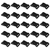 """LIHAO 25 PCS 1"""" Black Plastic Side Release Buckle for Paracord Bracelets (High Quality)"""