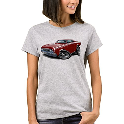 1964 65 Cutlass - Zazzle Women's Basic T-Shirt, 1964-65 Cutlass Maroon Car T-Shirt, Light Steel S