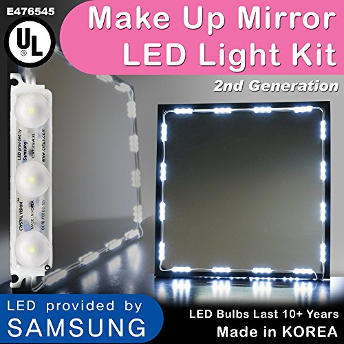 (Crystal Vision Hollywood Style Makeup Mirror LED Light Kit Provided by Samsung for Cosmetic Mirror Vanity Mirror w/Dimmer Controller (75 LED Bulb / 12.5ft) [Slim Cool White] )