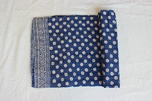 Handicraftofpinkcity Hand Made Indigo Blue kantha quilt, queen size bed cover, indigo kantha throw, mandala bed speared, polka dot cotton blancket