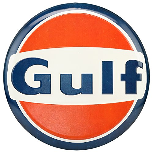 (Open Road Brands Vintage Retro Metal Tin Signs - Gulf Embossed Metal Button Sign - Great for Garage Decor, Man Caves, Gas Stations, and Home Decor)