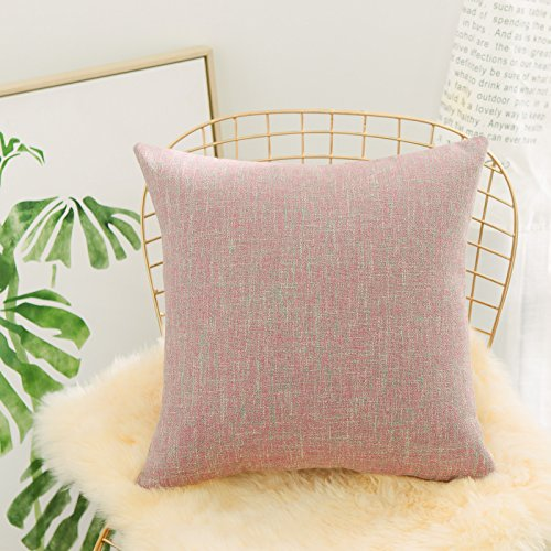 HOME BRILLIANT Large Floor Cushion Cover for Living Room Pink Pillow Covers Striped Soft Linen Chenille Blend European Throw Pillow Sham with Hidden Zipper, 26 inch(66x66cm), Cherry Blossom ()