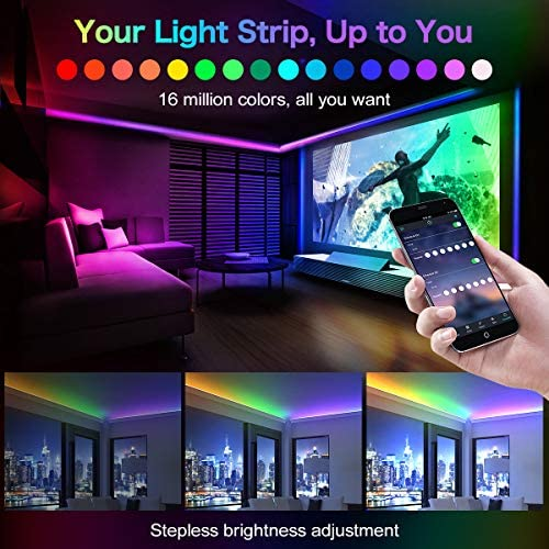 LED Strip Lights,32.8ft RGB LED Light Strip 5050 Smart Color Changing LED Strip Lights WiFi Waterproof LED Tape Lights Flexible 300 LEDs Strips Light Kit for Bedroom,TV,Cars
