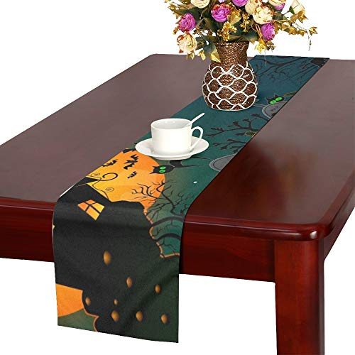 - WHIOFE Cartoon Halloween Pumpkins Scarecrow Halloween Night Table Runner, Kitchen Dining Table Runner 16 X 72 Inch for Dinner Parties, Events, Decor