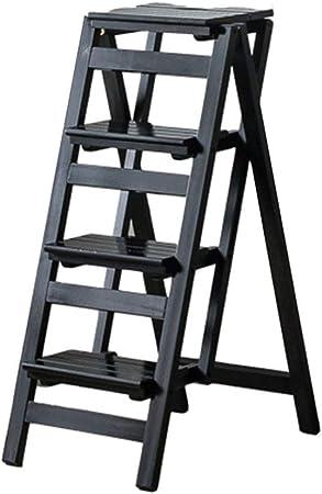 Escaleras Escalerillas Escalera Plegable de 2/3 / 4 Pasos de Madera Negro Ligera y Plegable para
