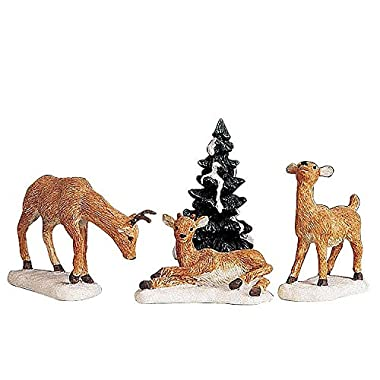 2009 Carole Towne Dad and Fawns Set of 4 Village