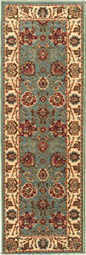"Ottomanson Otto Home Collection Persian Style Rug Oriental Rugs Runner Rug with Non-Skid (Non-Slip) Rubber Backing, 20"" L X 59"" W, Sage Green/Aqua Blue from Ottomanson"