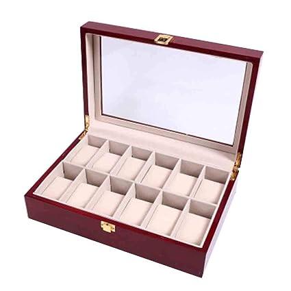 watch boxes Cajas de Relojes de Madera 12 Ranuras Ver Vitrina Joyas de Cristal Superior Cajas