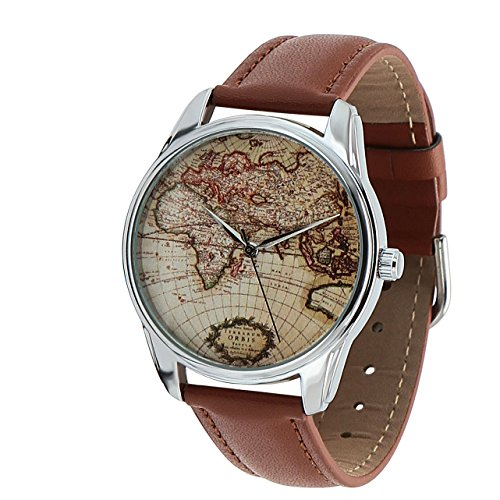 World Map Watch, Brown Map Wrist Watch, Travel Map Watch, Every Watch Comes in A Beautiful Gift Box and with an Additional Band (Map Watches)