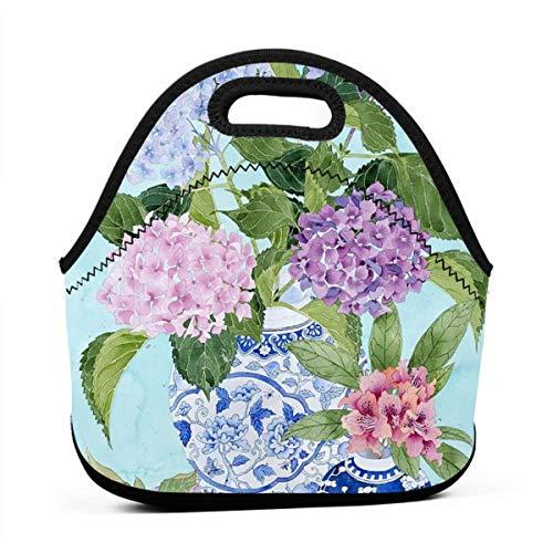 (HTHR Garden Hydrangeas Watercolour Lunch Bag Cute Reusable Portable Insulated Lunch Bag Outdoor Picnic Food Bag for Kids, Boys, Girls, Women and Men)