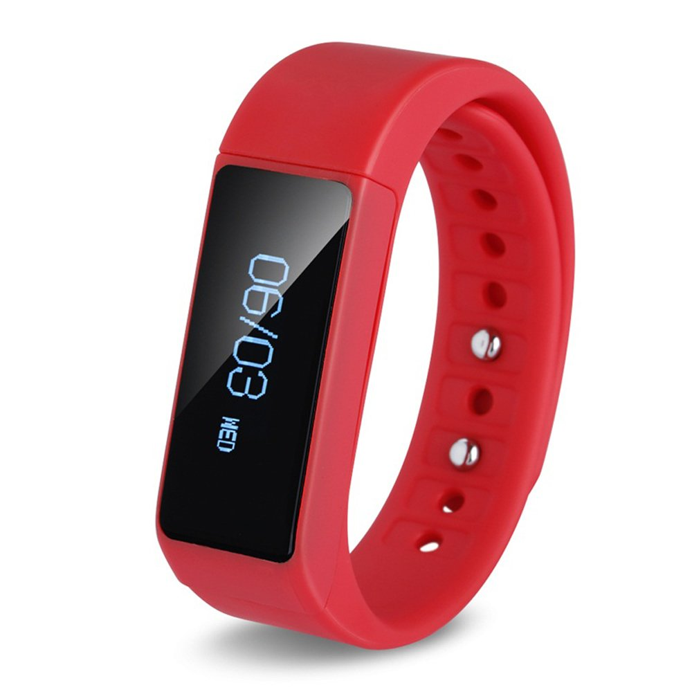 LQM I5 Plus Smart Bracelet Bluetooth 4.0 Touch Screen Fitness Tracker Health Sport Wristband Sleep Monitor TPU Material (Red)