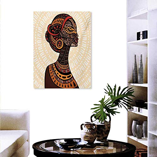 Mannwarehouse African Woman Canvas Wall Art for Bedroom Home Decorations Hand Drawn Ethnic Illustration Profile Portrait Tribal Ornaments Folk Art Art Stickers 16