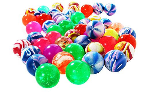 Juvale Assorted Bouncy Balls - Multi-design and Colorful Bounce Balls Bulk - Bright Solid Colored Favors for Swirls Party, Kids, Pets, 50 Piece, 1.5 ()