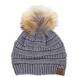 ScarvesMe CC Soft Stretch Cable Knit Ribbed Faux Fur Pom Pom Beanie Hat (Light Grey)