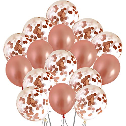 Rose Gold Confetti Balloons Set- 16 pcs Bachelorette Party Decorations for Bridal Showers, Wedding, Engagement Decor and Birthday Parties - Premium Large 18 Inch Latex Party Balloons Kit