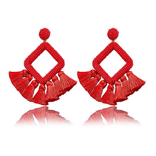 (Beaded Tassel Earrings for Women - Statement Handmade Beaded Fringe Dangle Earrings, Idea Gift for Mom, Sister and Friend (Red))