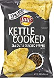 lays kettle cooked black pepper - Lay's Kettle Cooked Potato Chips Sea Salt & Cracked Black Pepper, 8 oz (1)
