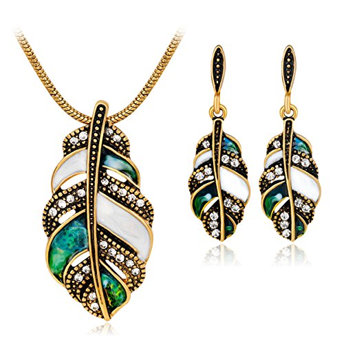 Joya Gift Vintage Enamel Crystal Jewelry Set Gold Necklace Ring Leaf Earrings Set for Women ()