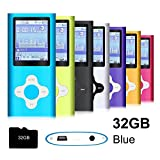 G.G.Martinsen Blue Stylish MP3/MP4 Player with a 32GB Micro SD card, Support Photo Viewer, Recorder & Radio, Mini USB Port 1.8 LCD, Digital Music Player, Media/Video Player, MP3 Player, MP4 Player