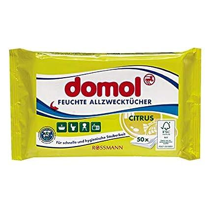 domol – Toallitas húmedas multiusos Citrus 50 unidades para rápida y limpieza higiénica