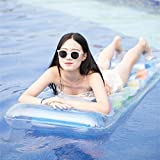 Ponis-Limos - Transparent 18 Holes Inflatable Mat Water Chair Summer Water Sports Adult Swimming Pool Beach Air Floating Water Bed 171x64cm